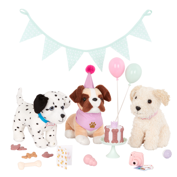 Our Generation Party Pups Birthday Decoration Set Dog Plush Pets 18-inch Doll Accessories