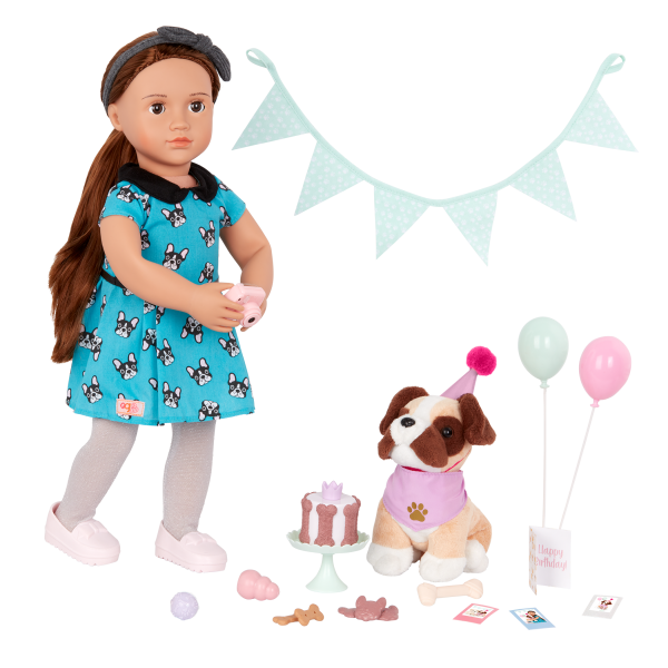 Our Generation Party Pups Birthday Set Stuffed Animal Pets 18-inch Doll Accessories