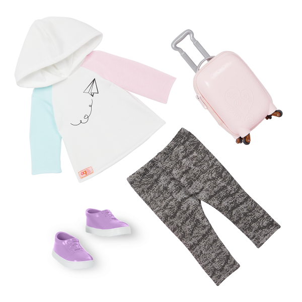 Our Generation 18-inch Doll Tyanna Travel Outfit Rolling Luggage Accessories