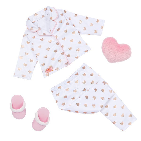 Our Generation Polka Hearts Pajama Outfit & Plush Pillow 18-inch Slumber Party Doll Serenity
