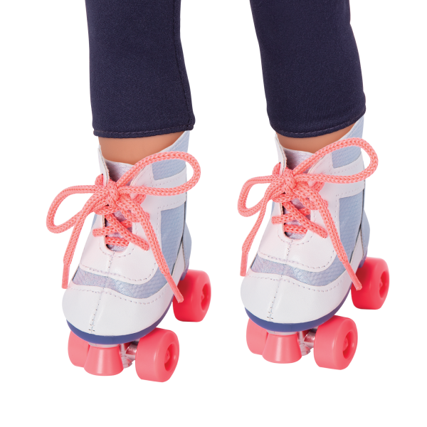 Our Generation Roll With It Roller Skates Blue & White for 18-inch Dolls