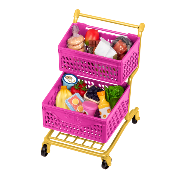 Our Generation Grocery Day Shopping Cart 2 Storage Baskets for 18-inch Dolls