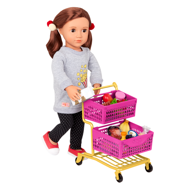 Our Generation Grocery Day Shopping Cart Rolling Wheels for 18-inch Dolls