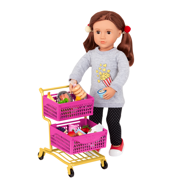 Our Generation Grocery Day Shopping Cart Play Food Set for 18-inch Dolls