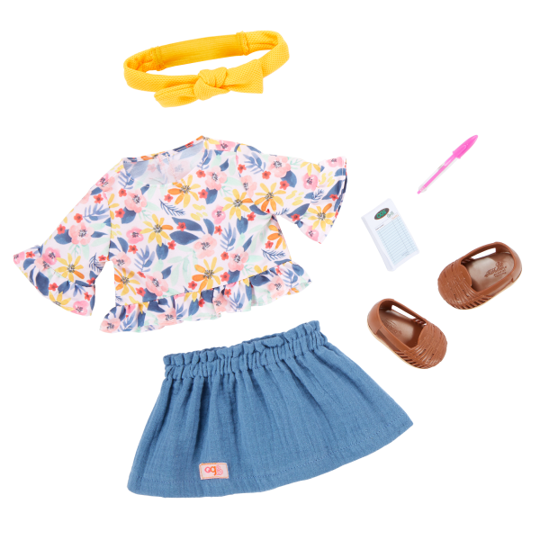 Our Generation Posable 18-inch Doll Macy Floral Outfit