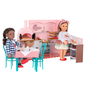 Our Generation Easy Cheesy Pizzeria Playset Foldable Counter for 18-inch Dolls