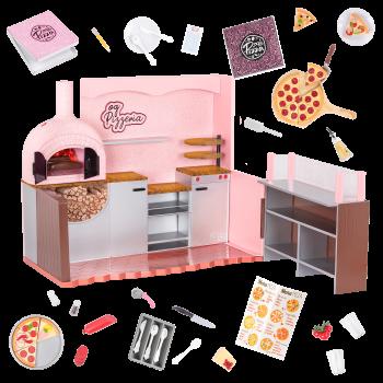 Our Generation Easy Cheesy Pizzeria Restaurant Playset 18-inch Dolls Francesca & Chantel