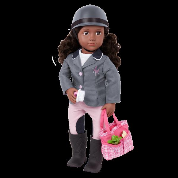Our Generation Posable 18-inch Equestrian Doll Rashida Tote Bag & Helmet