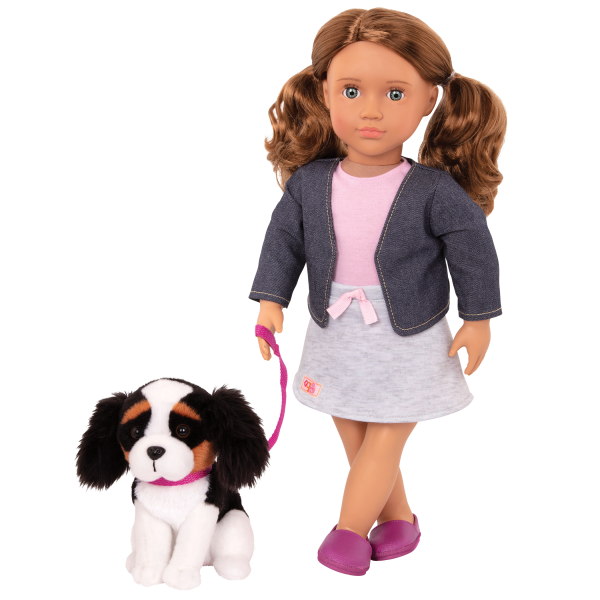 Our Generation 18-inch Doll Maddie & Pet Dog Plush