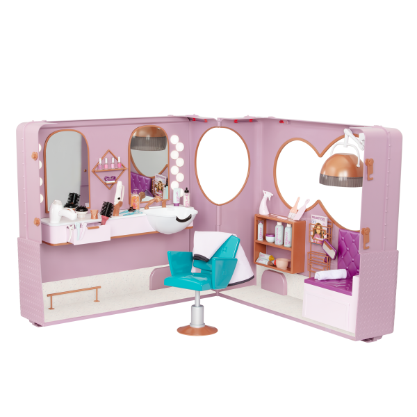 Our Generation Salon on Wheels Foldable Trailer Playset for 18-inch Dolls