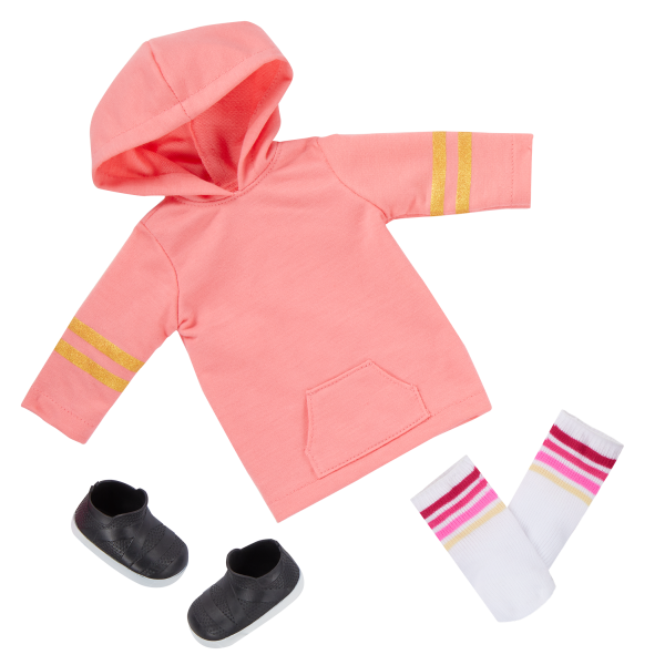 Our Generation Posable 18-inch Skateboarder Doll Ollie Hooded Sweater Outfit