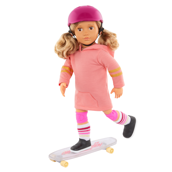 Our Generation Posable 18-inch Doll Ollie Sweater & Skateboard