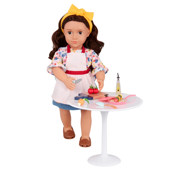 Our Generation Posable 18-inch Doll Rayna Table for Two Furniture Set