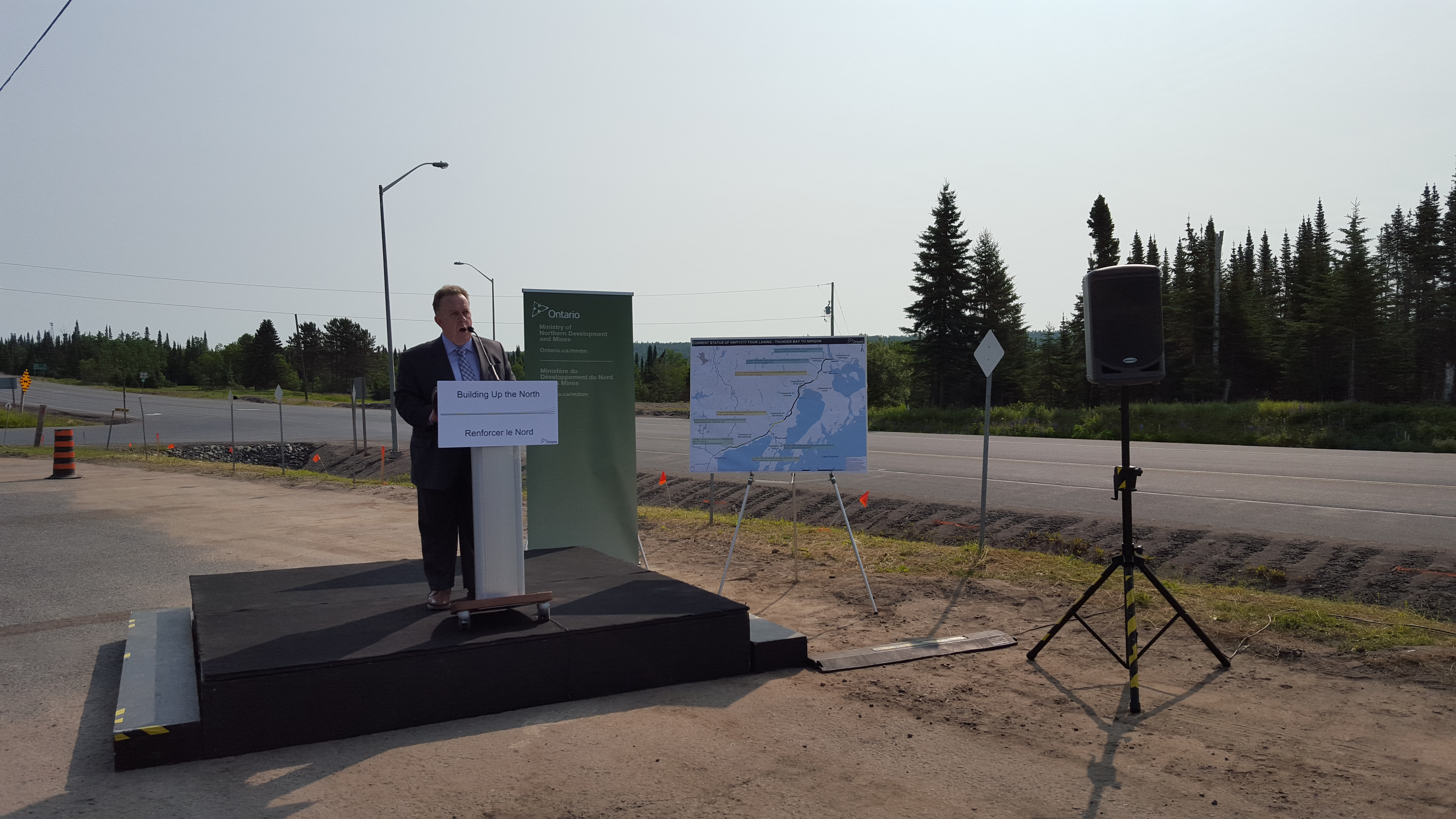 Hon. Michael Gravelle - Minister of Northern Development and Mines announcing the continued expansion of highways 11/17 to four lanes.