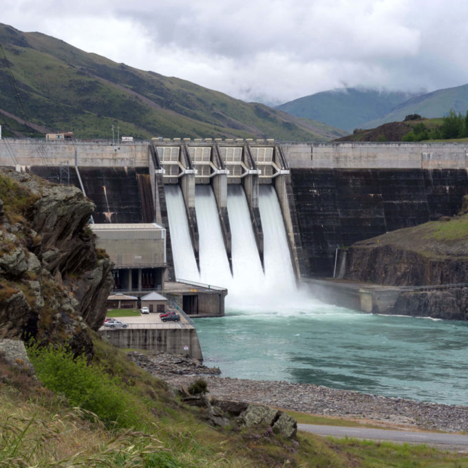 Dam with mountain in background