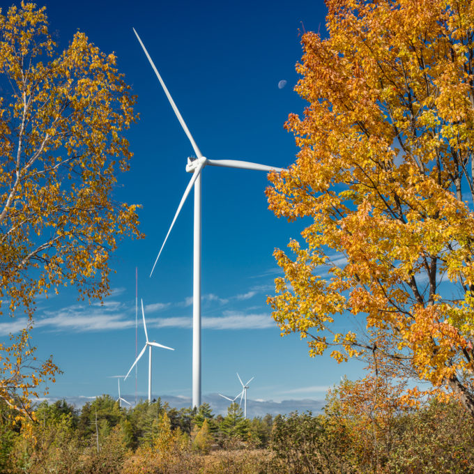 Henvey Inlet - Wind turbines with forest and blue sky