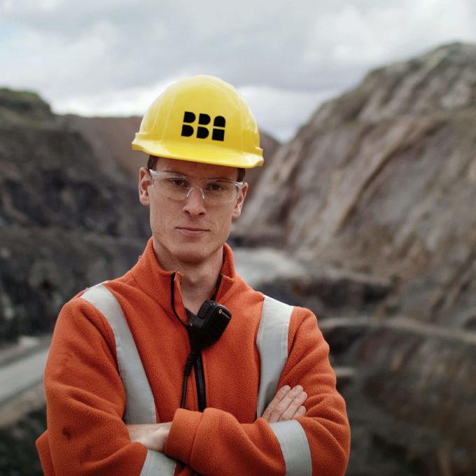 Mining - employee mining pit - helmet with logo