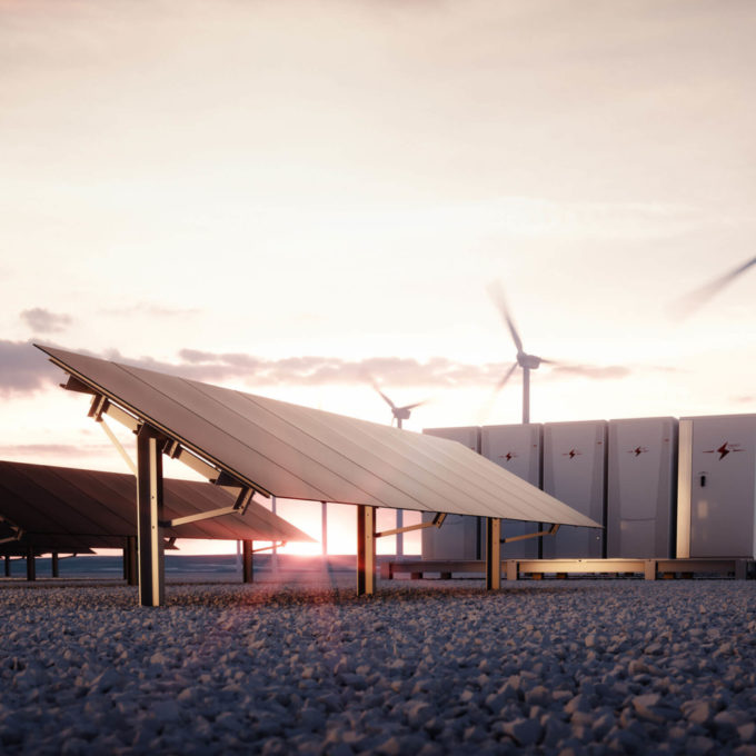 Power - Energy storage - Batteries with solar panels and wind turbines
