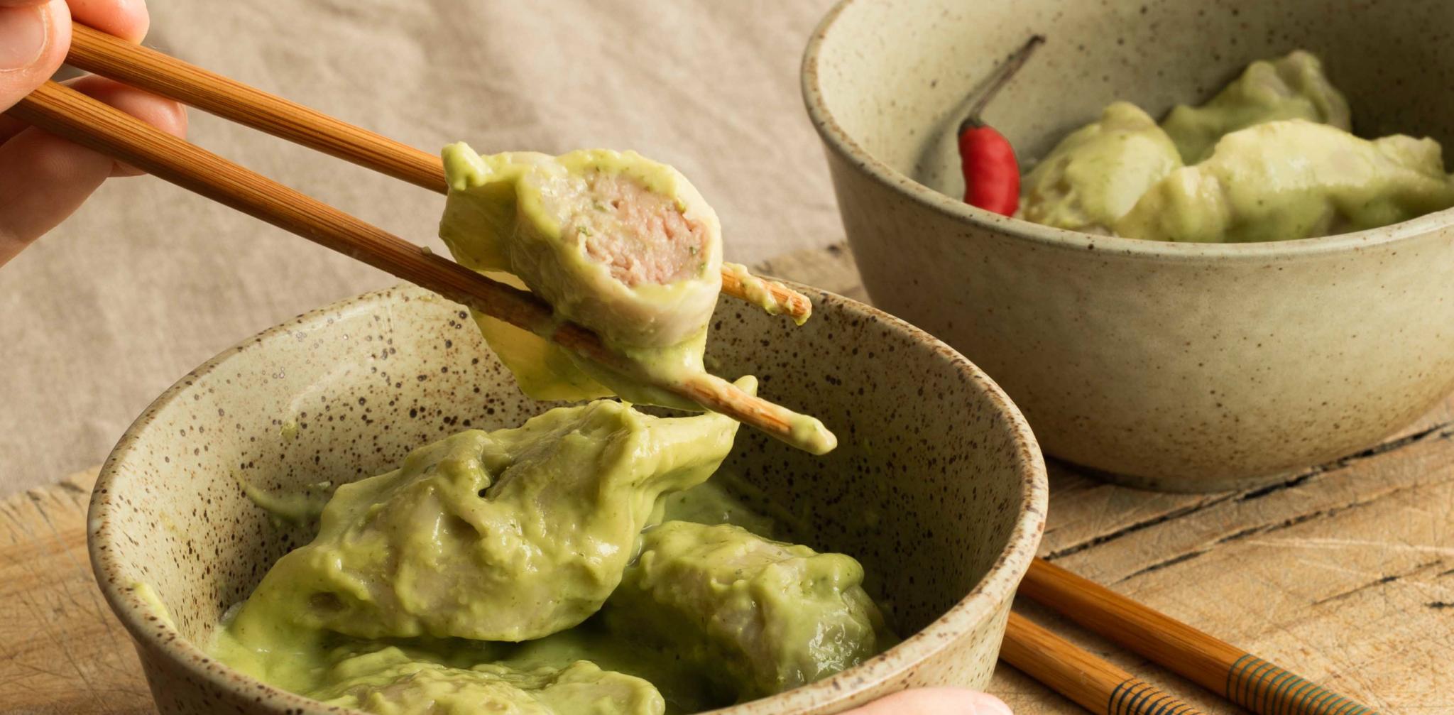 1021 3 X PAR JOUR Dumplings a la dinde sauce cremeuse au currry vert