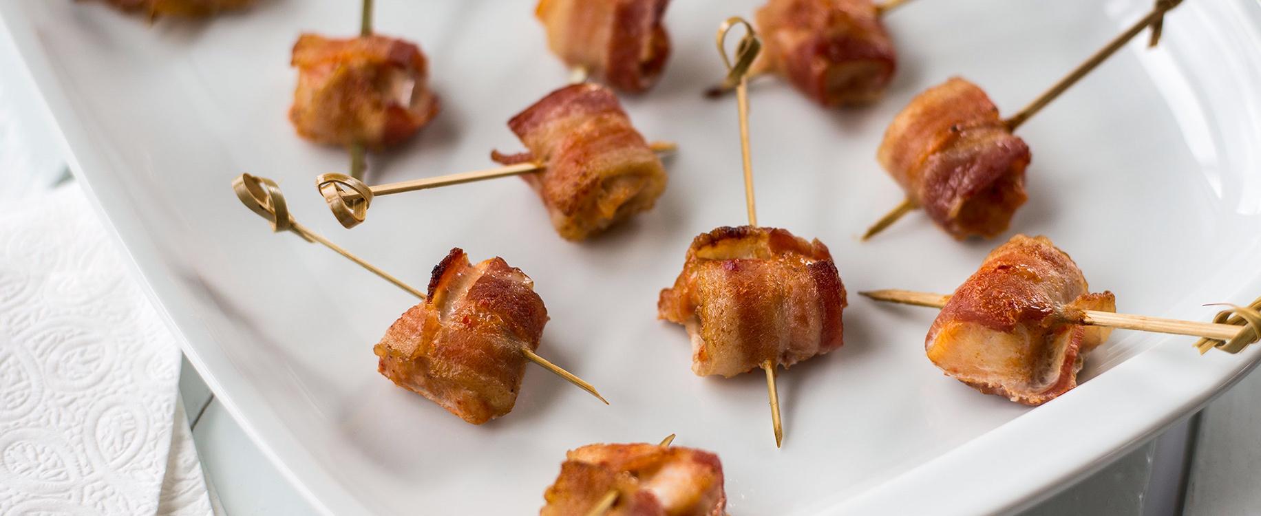 Bouchees de poulet BBQ au bacon