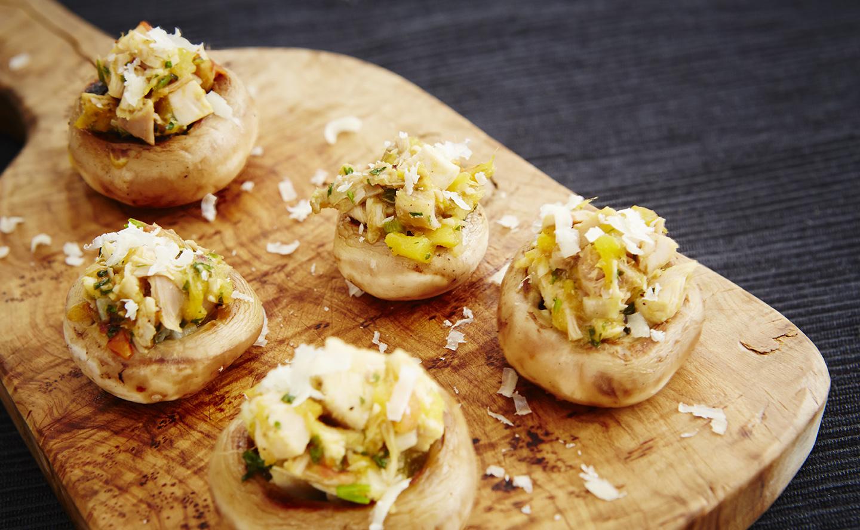 Champignons farcis au dindon chutney de mangues