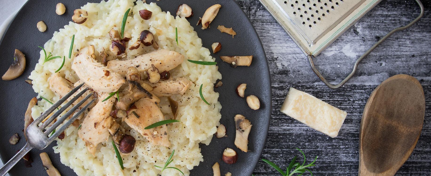 Risotto au poulet champignons et noisettes