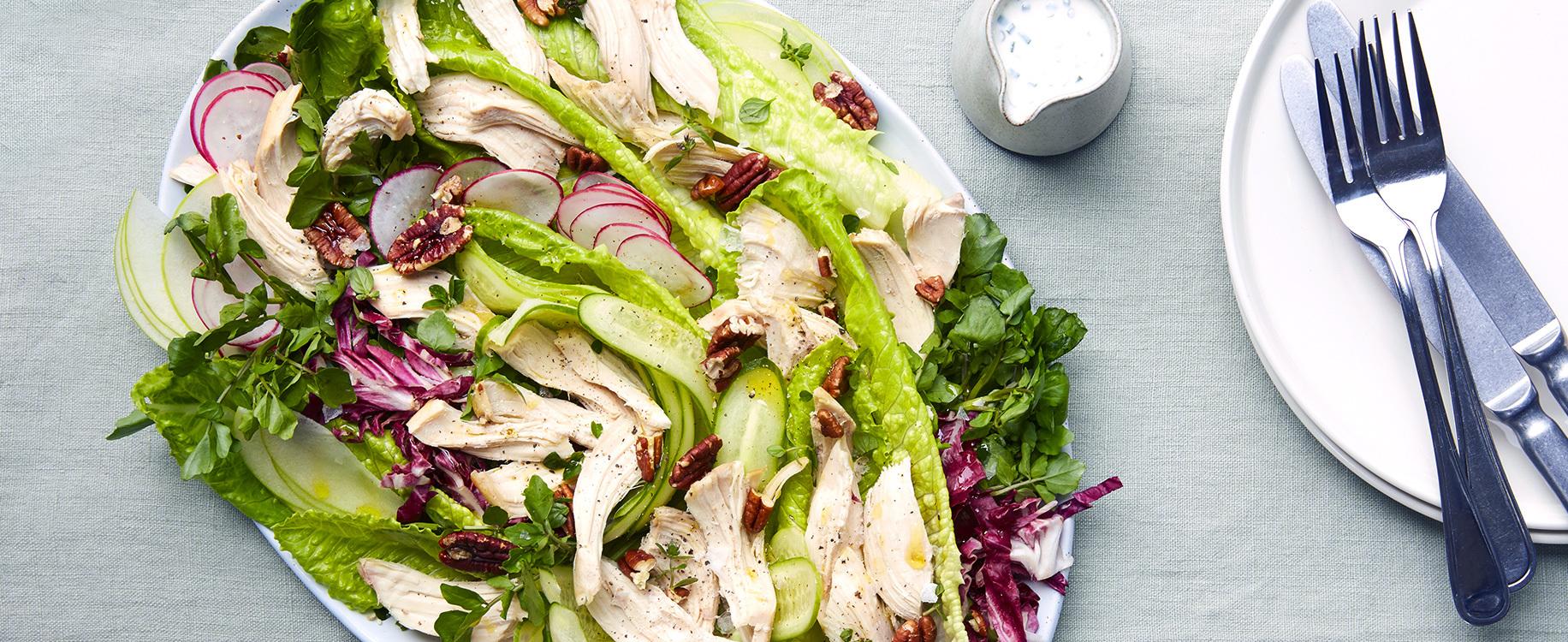 Salade de cresson poulet roti pomme verte sauce au chevre frais