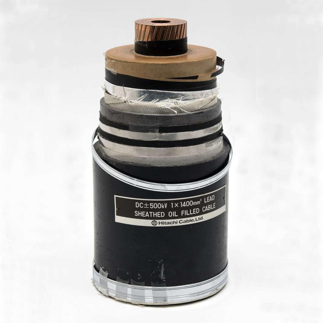 <p>Sample of the first underground cable designed for voltages of up to 450 kV, manufactured by Hitachi Corporation in 1989. </p> <p>©Hydro-Québec's historical Collection.</p>