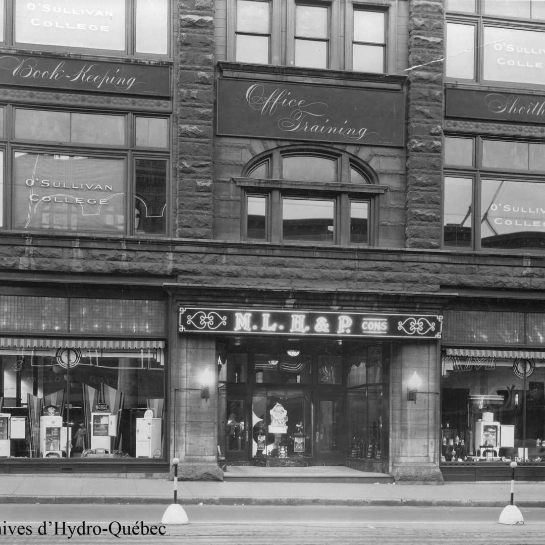 <p>Electrical appliance store at the intersection of Sainte-Catherine and De la Montagne, 1932. It became the property of Hydro-Québec during the first nationalization. </p> <p>©Hydro-Québec archives.</p>