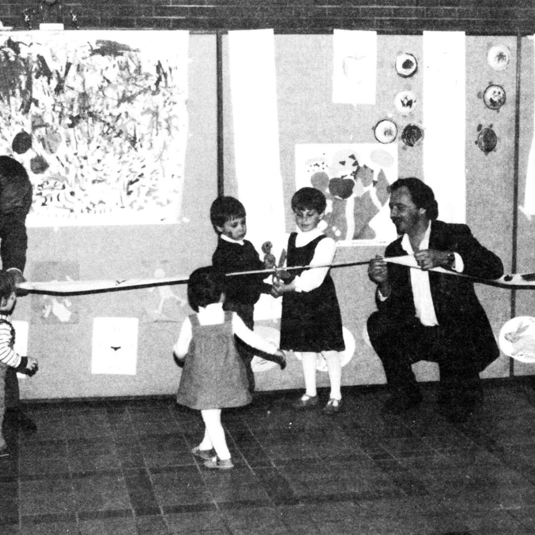<p>Inauguration of the first on-site daycare, 1987. Employees had suggested this type of service as early as 1975, during consultations by a study committee on the status of Hydro-Québec's female staff.</p> <p>©Hydro-Québec archives.</p>