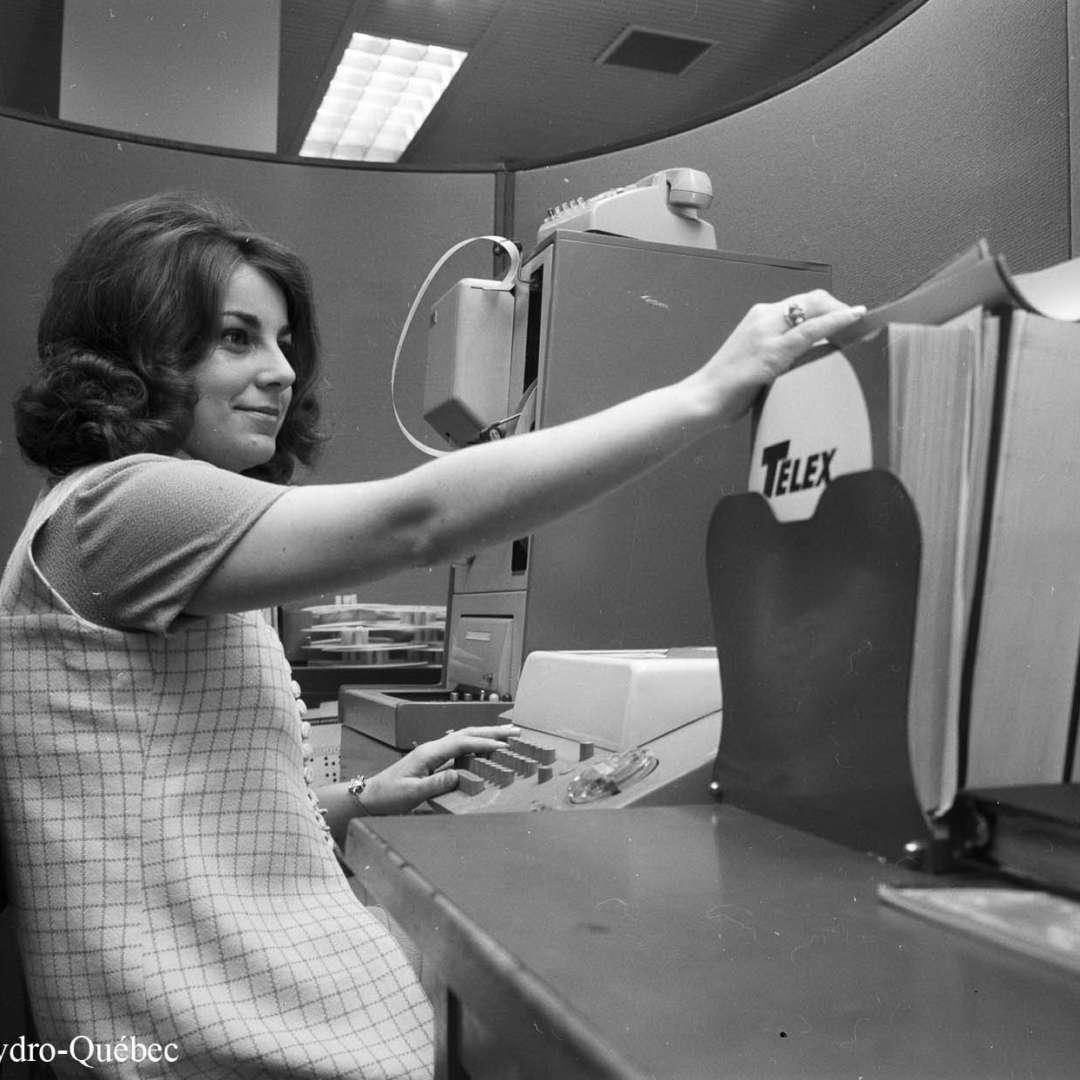 <p>MmeLanctôt, employée d'Hydro‑Québec, 1971</p> <p>©Archives d'Hydro‑Québec</p>