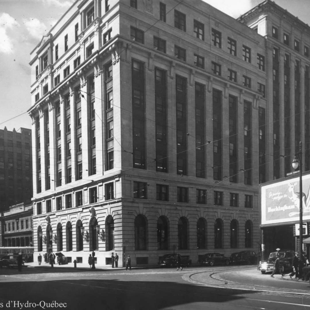 "<p>Headquarters of MLH&P at 107, rue Craig (now rue Saint-Antoine), circa 1930. Hydro-Québec established its headquarters in the ""Power Building"" in 1944. </p> <p>©Hydro-Québec archives.</p>"