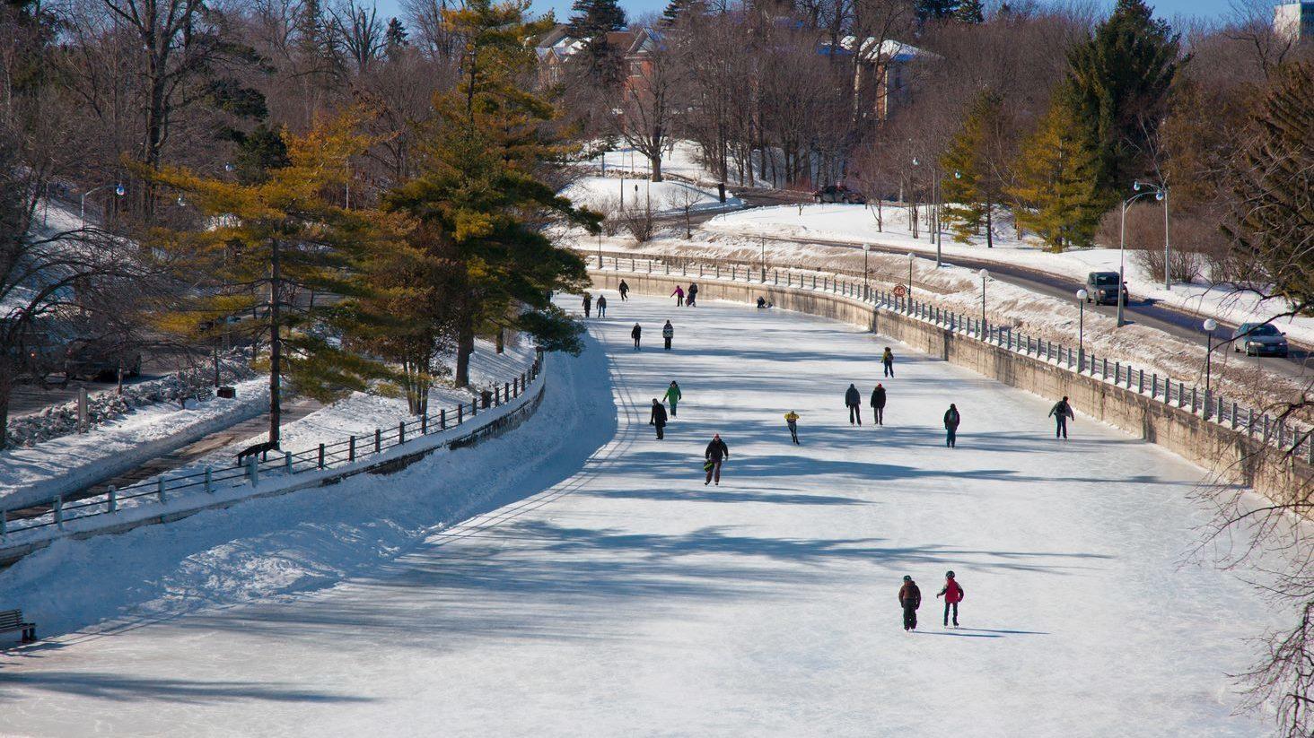 Quelques personnes patinent sur la patinoire du canal Rideau