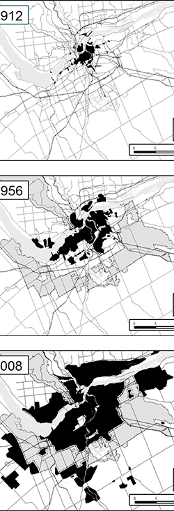 Three maps showing urban growth in the National Capital Region.