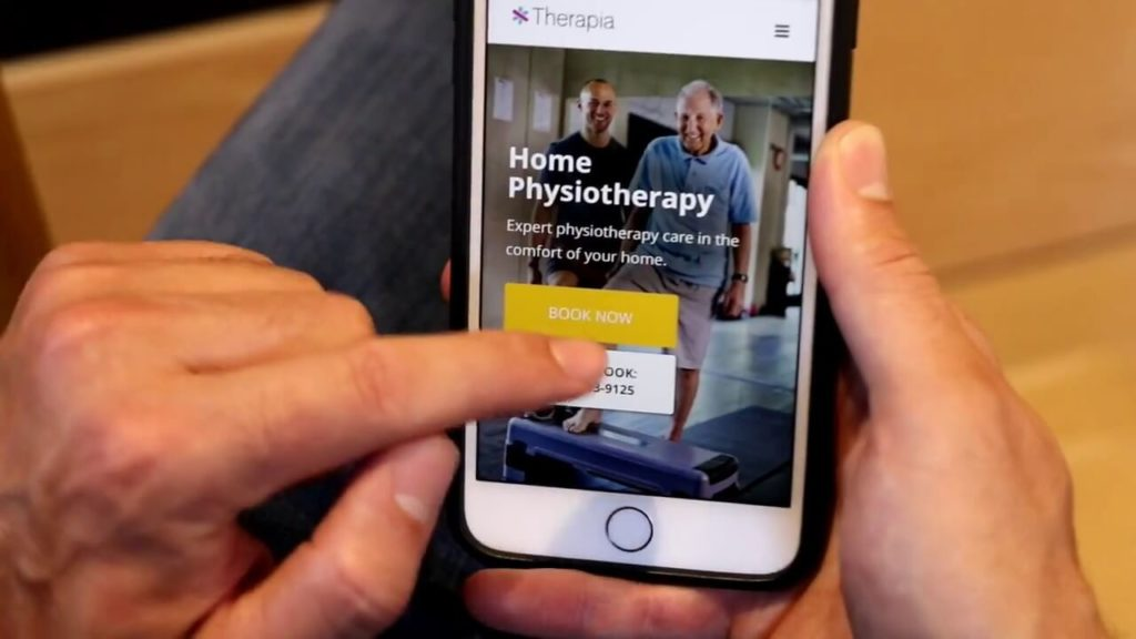 tapping therapia home physiotherapy website on mobile