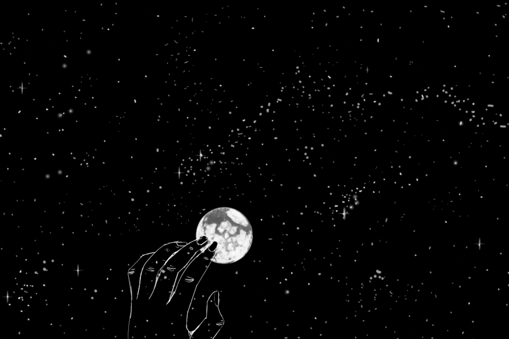 """Neve Sowinski, Amongst the Stars, 2019 (Animation still from the """"Black Square Project"""")"""