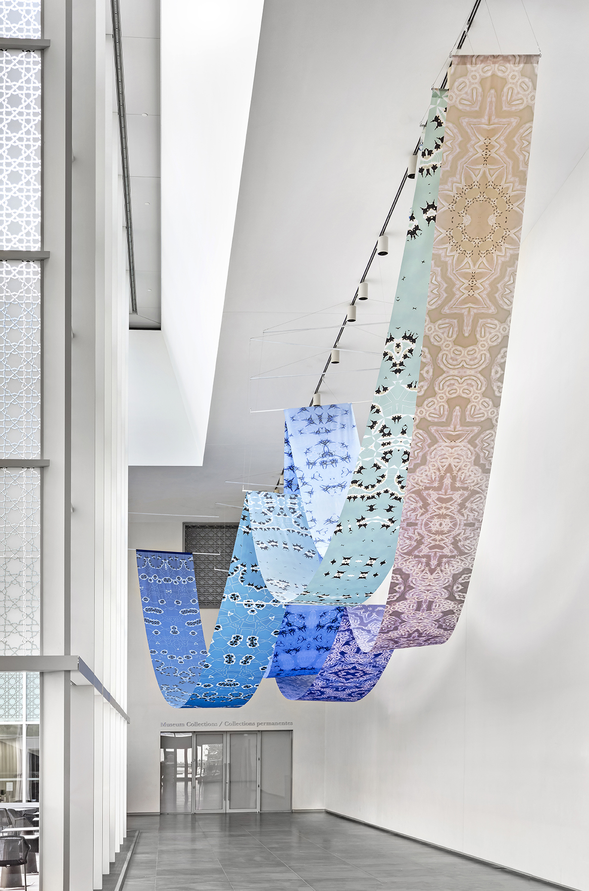Sanaz Mazinani, Not Elsewhere, Installation at Aga Khan Museum, Toronto, 2019. Photo: Toni Hafkenscheid. Courtesy CONTACT, the artist.