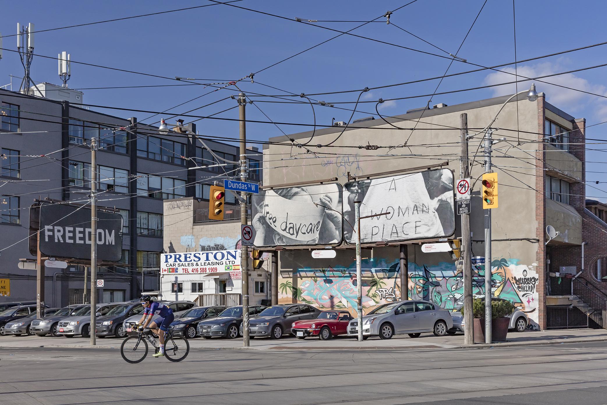 Carmen Winant, XYZ-SOB-ABC, Installation on billboards, Toronto, 2019. Photo: Toni Hafkenscheid. Courtesy CONTACT, the artist.