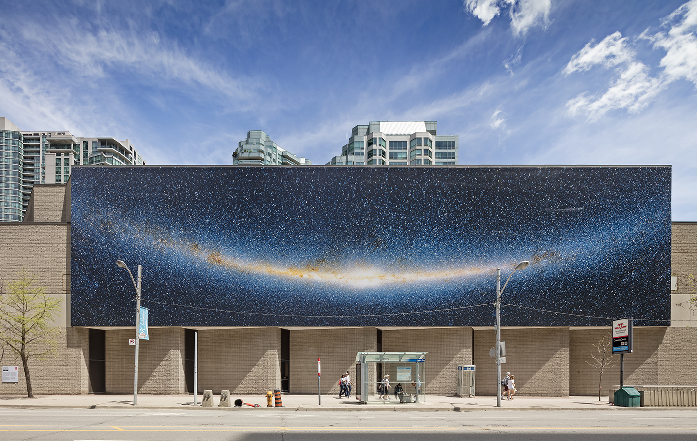 Elizabeth Zvonar, Milky Way Smiling, Installation at Westin Harbour Castle Conference Centre, west façade, Toronto, 2019. Photo: Toni Hafkenscheid.