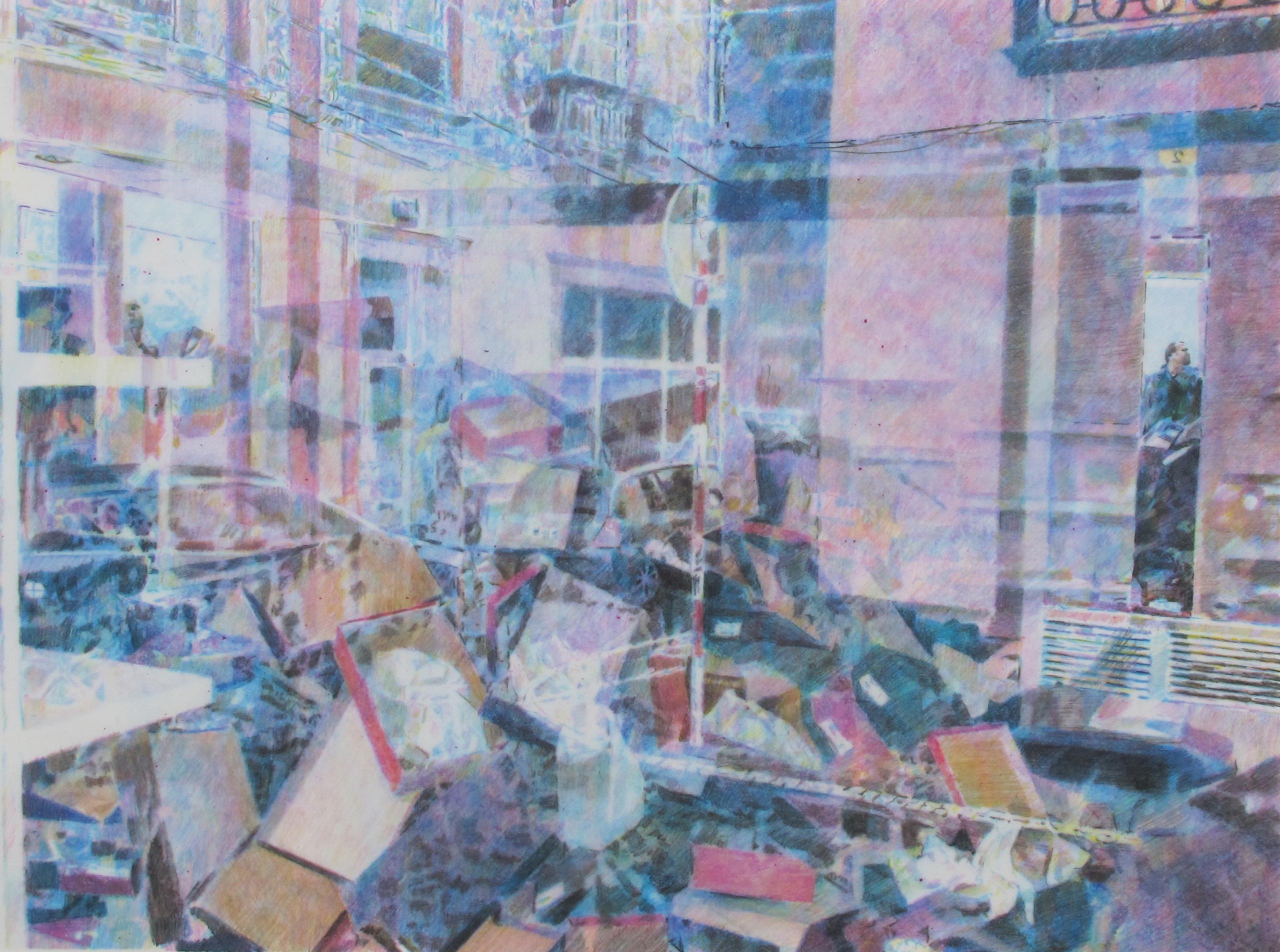 "Stephen Andrews, Punto, 2013. Watercolour crayon on mylar, 27 x 35""."