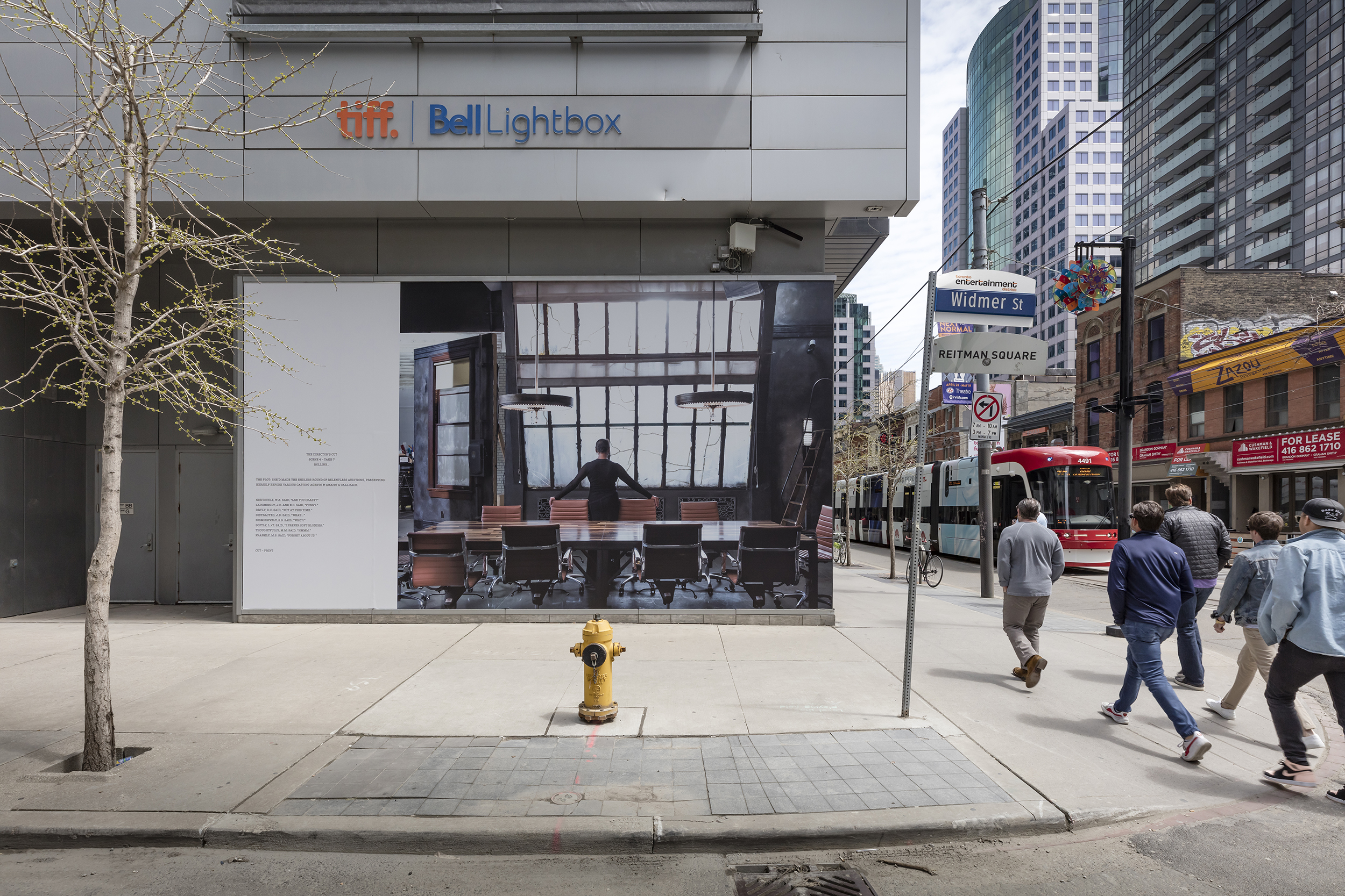 Carrie Mae Weems, irector's Cut and The Bad and the Beautiful), 2016., Public Installation at TIFF Bell Lightbox, windows at King St. W. and Widmer St., Toronto, May 1–31, 2019. Photo: Toni Hafkenscheid. © Scotiabank CONTACT Photography Festival. Courtesy the artist and Jack Shainman Gallery, New York, NY.