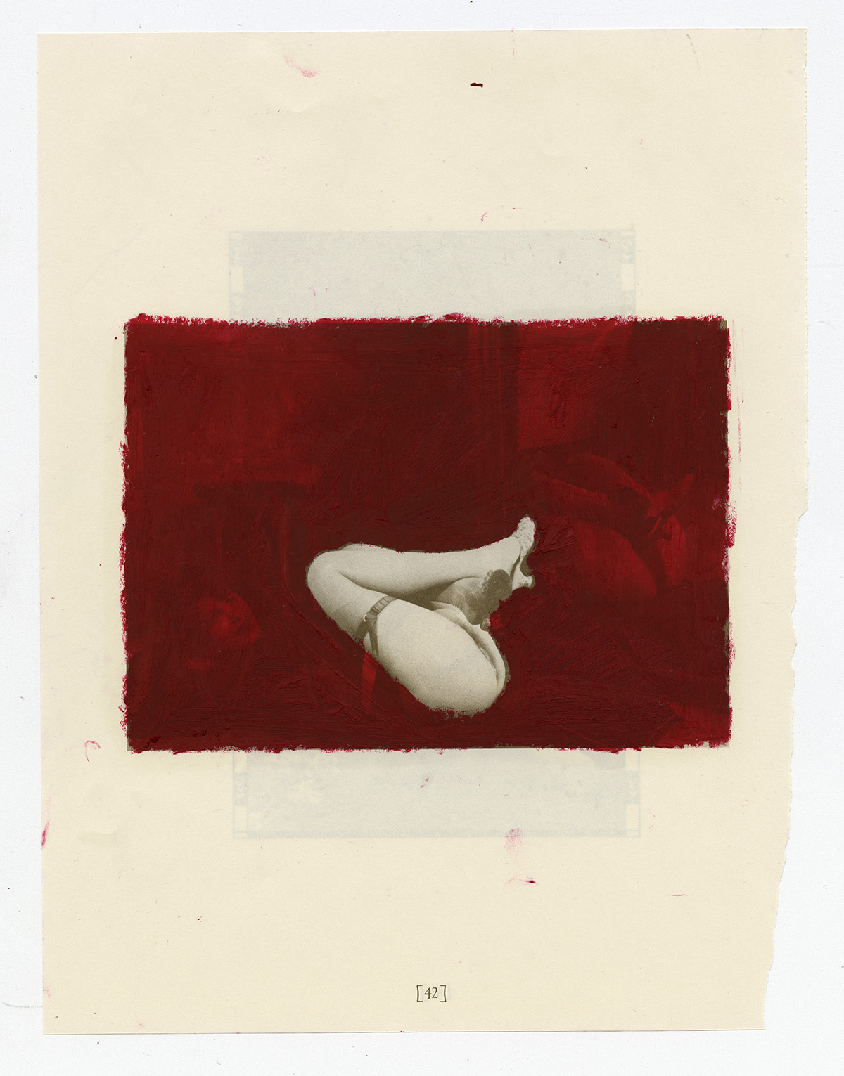 """Sondra Meszaros, strange spot, 2018 - 2019. Oil pastel on found book page, 12.25 x 14.75""""."""