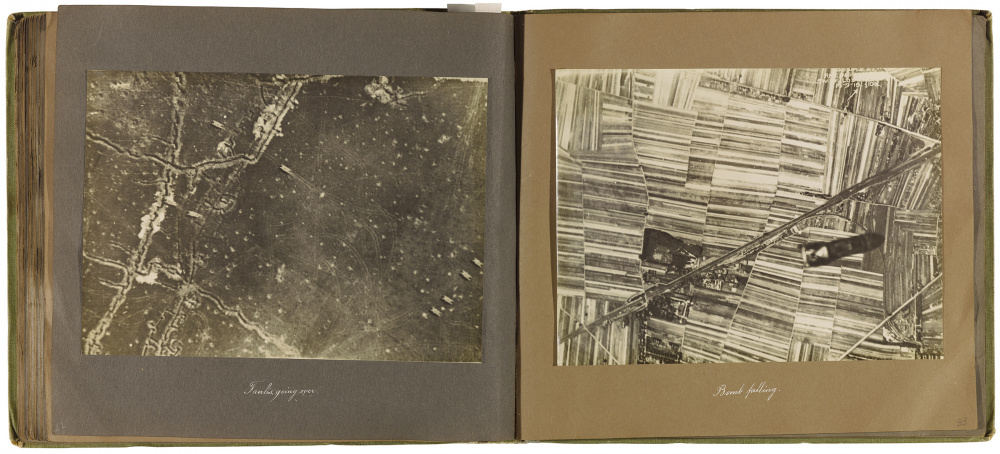 Ernest Haghever gelatin prints, in bound fabric. Anonymous Gift, 2004. 2004/306 © 2018 Art Gallery of Ontario, Tanks going over and Bomb falling, from Album of the 6th Brigade Royal Air Force, 1916 – 1919. Album: 88 silver gelatin prints, in bound fabric. Anonymous Gift, 2004. 2004/306 © 2018 Art Gallery of Ontario