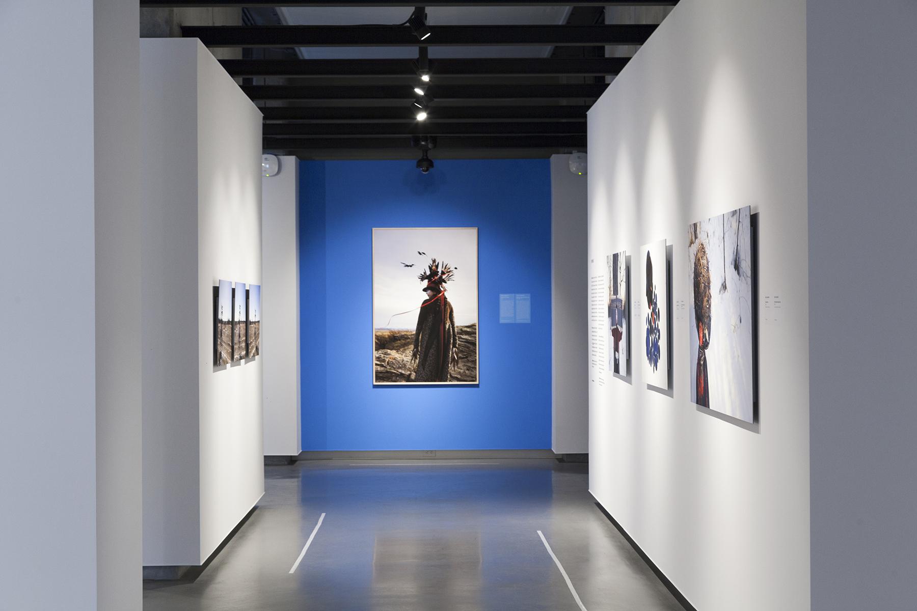 Meryl McMaster, New Generation Photography Award, Exhibition at On Site Gallery, May - June 2018. Photo by Yuula Benivolski