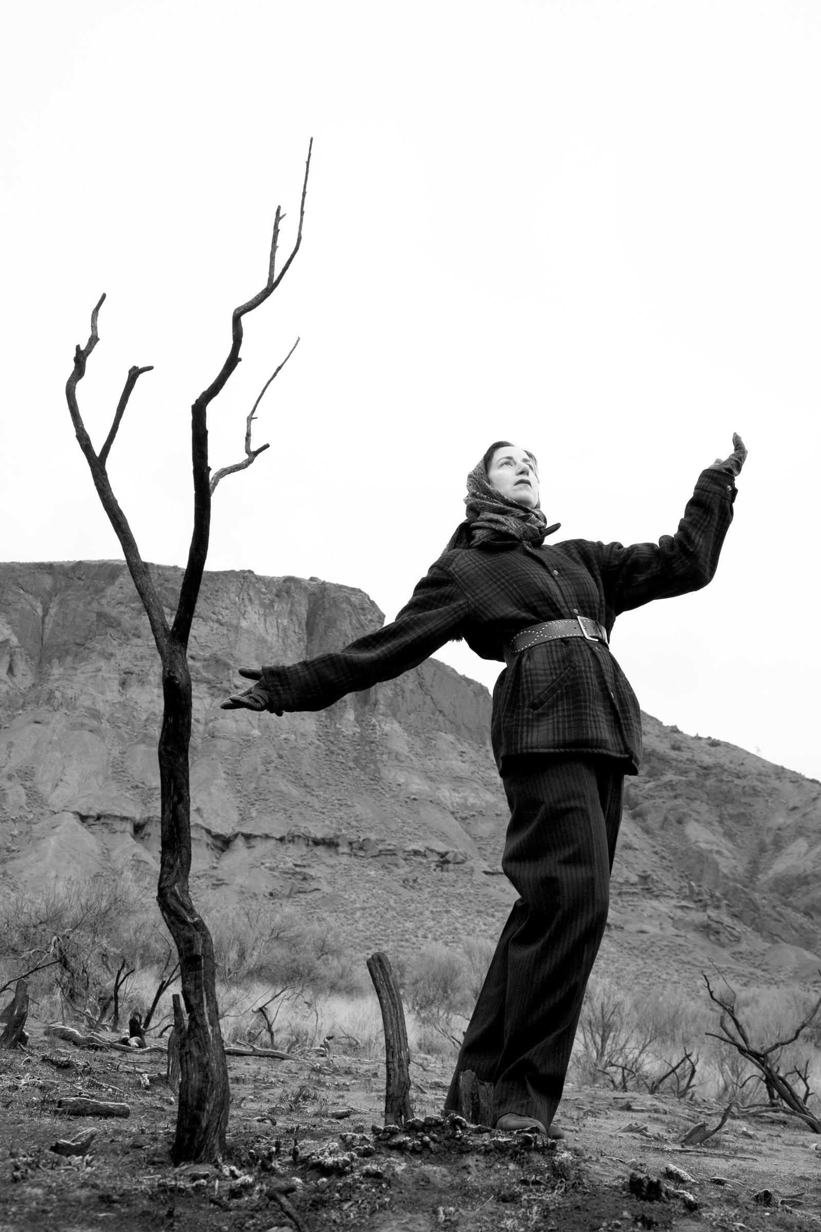 """Carol Sawyer, Natalie Brettschneider performs """"Burnt Tree,"""" Kamloops, c.1949, 2001. Courtesy of the artist and Republic Gallery, Vancouver."""