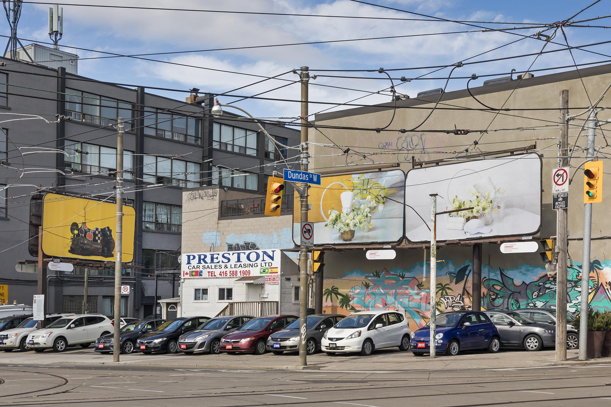Awol Erizku, Say Less, 2018. Billboard installation on Lansdowne Avenue at Dundas Street W and College Street, Toronto. Photo by Toni Hafkenscheid.