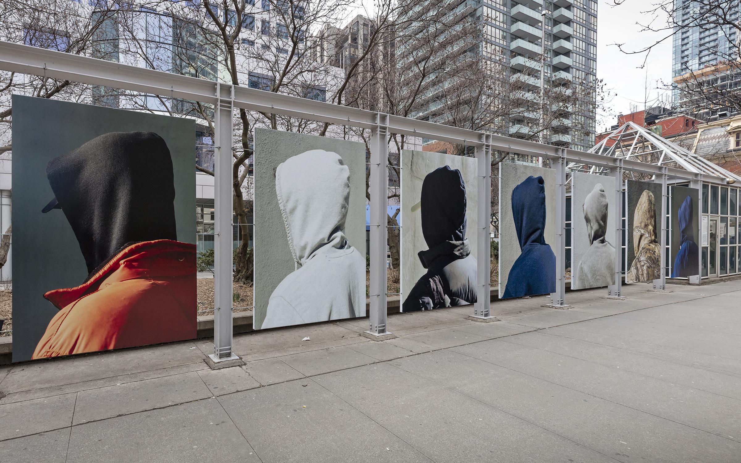 John Edmonds, Hoods, 2018. Installation at Metro Hall. Photo by Toni Hafkenscheid