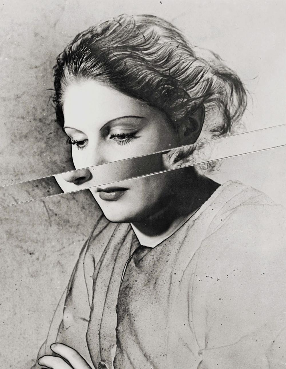 Erwin Blumenfeld, Portrait Solarised and Cut, circa 1938. Silver gelatin print, 13 × 10.5