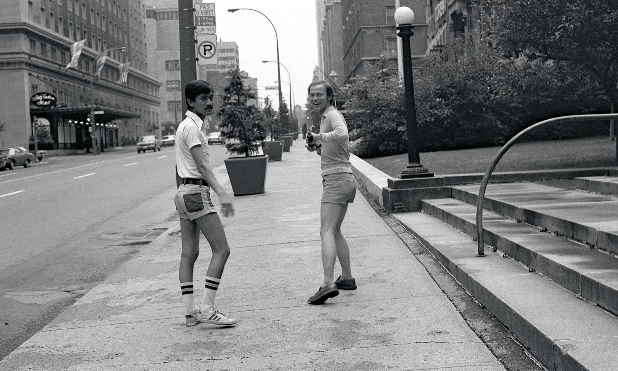 "Sunil Gupta, With my lover Rudi near the Ritz Carlton on Sherbrooke Street, circa 1974. Archival pigment print, 23 x 15"". © Sunil Gupta, courtesy of Stephen Bulger Gallery"