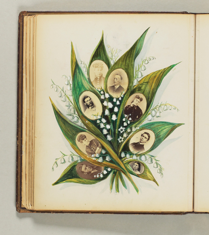 """Caroline Walker, Album [1]: """"C.W.Bell"""", 1875. 31 Albumen prints, watercolour, black ink; 39 pages; leather bound, gold embossed detailing, 12.9 x 11 x 1.3"""". Purchase, donated funds in memory of Eric Steiner, 2003. © 2017 Art Gallery of Ontario."""